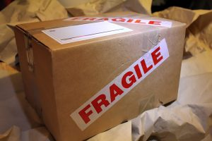 Moving box labeled fragile.
