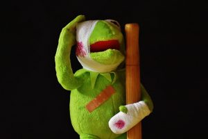 an injured kermit the frog