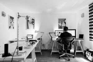 a man in his home office