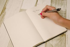 Writing in a planner