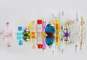 Glass bottles of perfume.