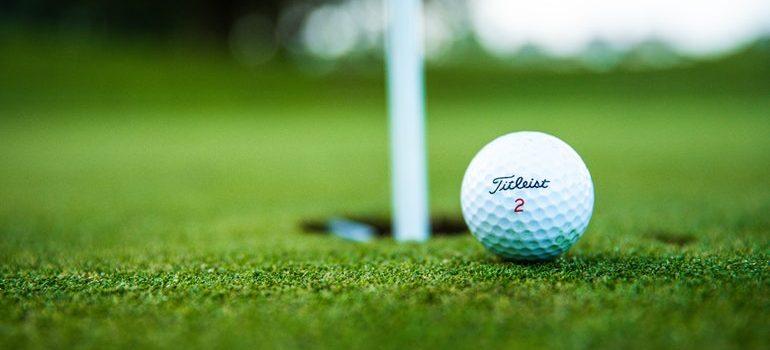 Golf ball at a hole.