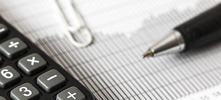-calculator and a pen