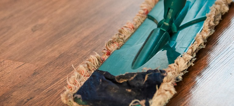 a mop you will use when cleaning and sanitizing on moving day
