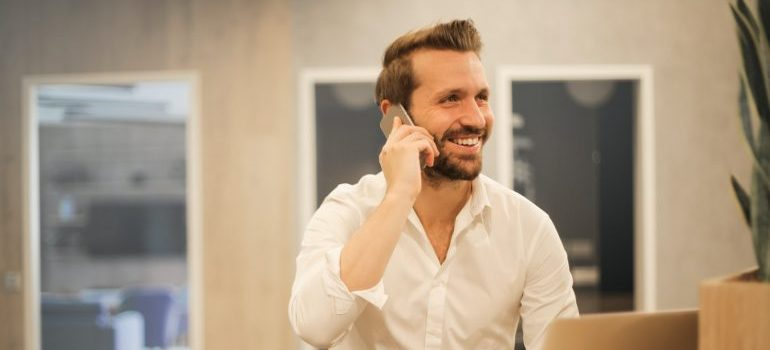 A professional talking on the phone
