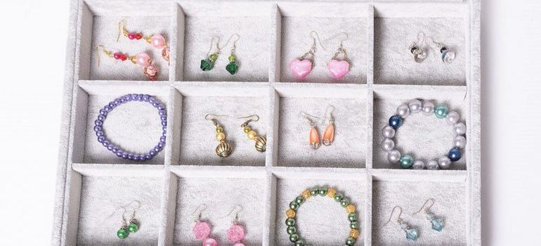 colorful jewelry in a white box