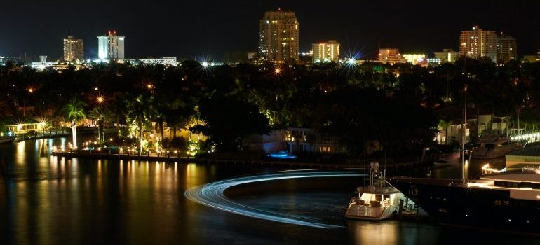 night shot of Fort Lauderdale waterfront