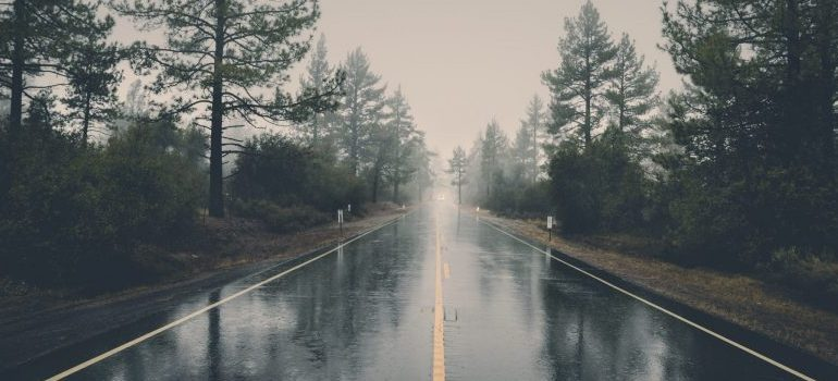 a wet asphalt road